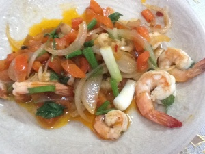Stir-fried Prawn with curry powder /  Frito de gambas en polvo de curry