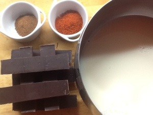 Ingredientes para el chocolate:  leche, chocolate, canela y chili
