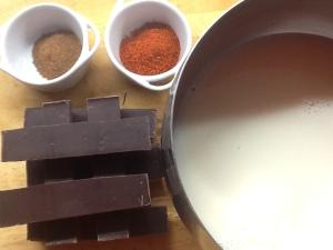 Ingredientes para el chocolate:  leche, chocolate, canela y chili