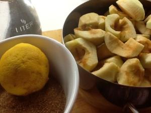 Ingredientes:  Manzanas, limón y azúcar
