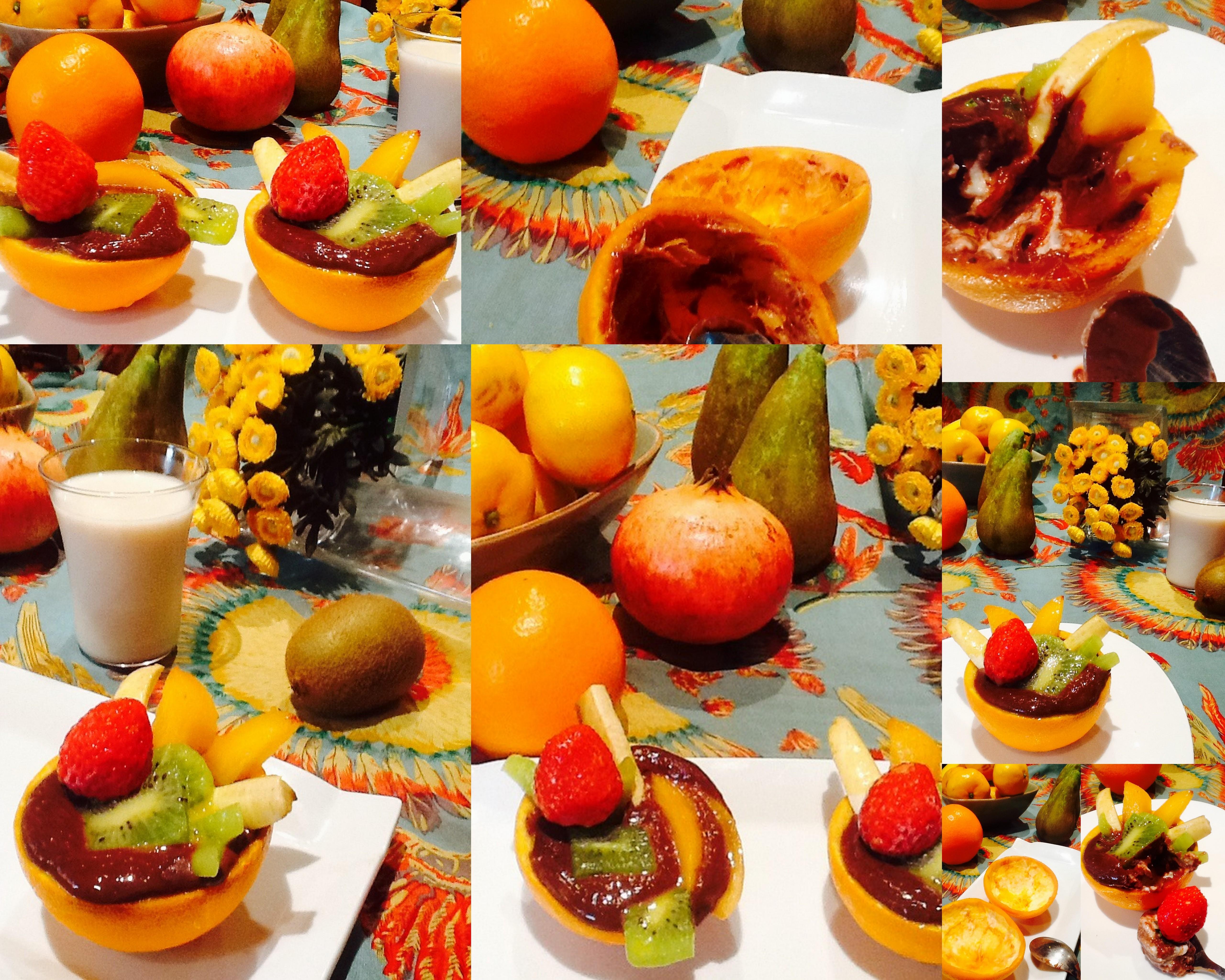 Naranja rellenas de chocolate y frutas