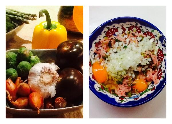 Verduras y la carne picada de pollo.