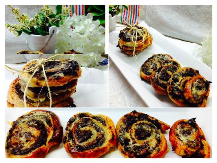 Caracola de hojaldre con morcilla y peramCollage_Fotor