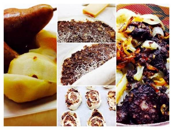 Caracolas de hojaldre con morcilla y pera_Fotor