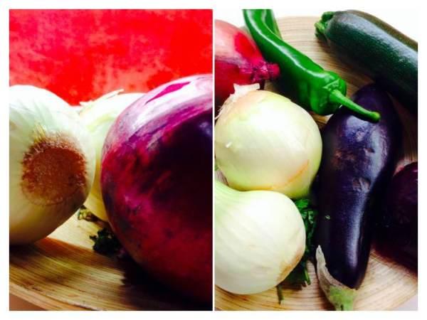 Cebolla, calabacín, berenjena, tomate y mozzarella_Fotor