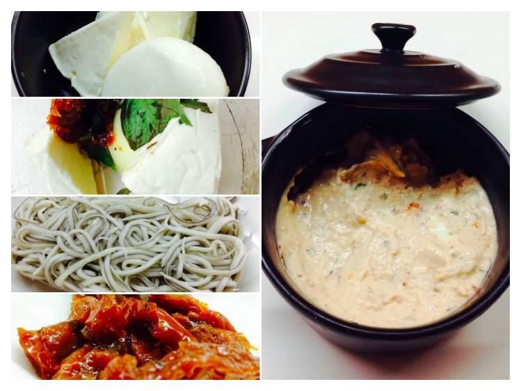 Ensalada de canónigos y gulas con crema de queso de romate seco y albahacaCollage_Fotor