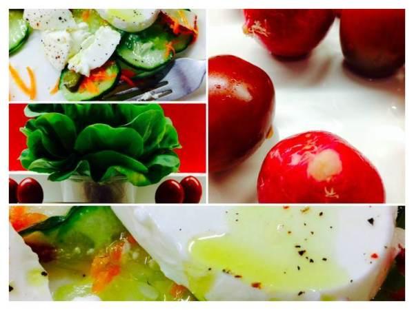 Ensalada de pepino, rábanos, zanahoria, pepinillos y mozzarella_Fotor