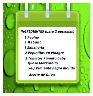 Ensalada de pepino y rabanitos ingredientes