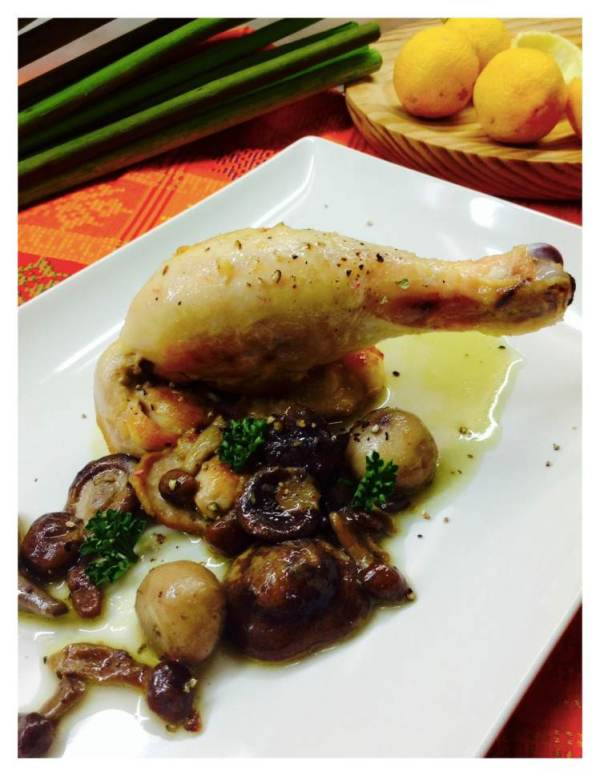 Pollo salteado con setas