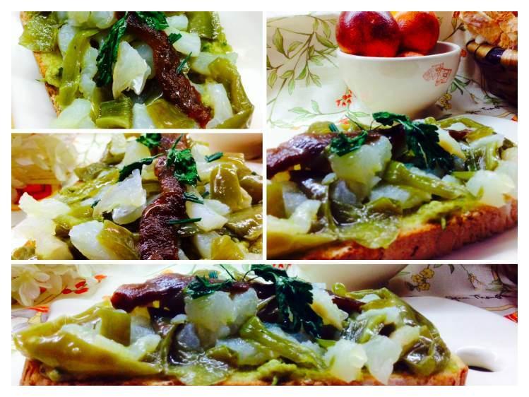 Tosta de bacalao con crema de aceite con pimientos verdes_Fotor
