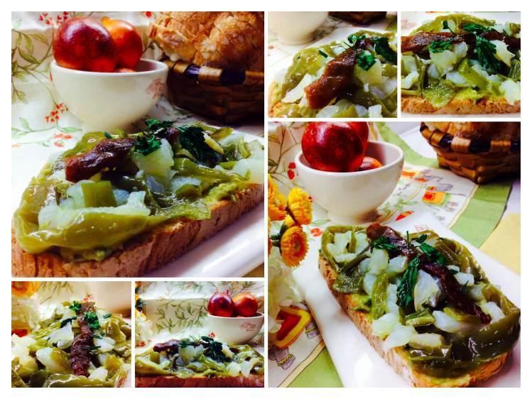 Tosta de bacalao con pimientos verdes_Fotor