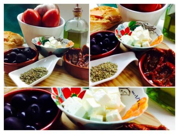 Tosta de queso feta, con aceitunas negras y tomates_Fotor
