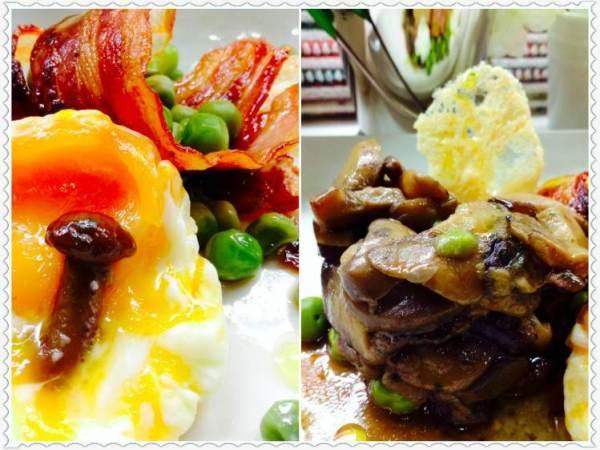 Guisantes con bacón, pastel de setas y huevo poché Collage_Fotor